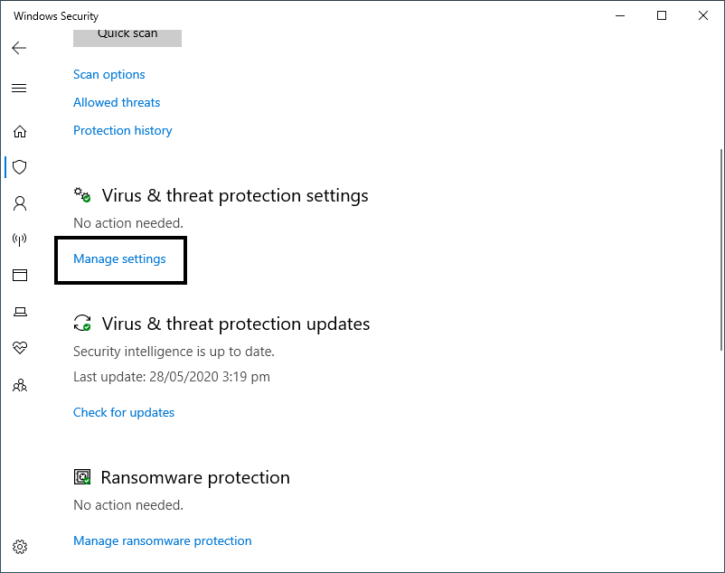 Virus & threat protection settings- Manage settings window