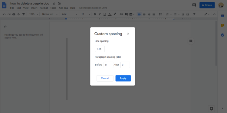 How to delete a page in Google Docs use custom spacing