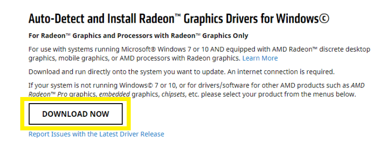 Auto-Detect and Install Radeon Graphics Drivers for Windows