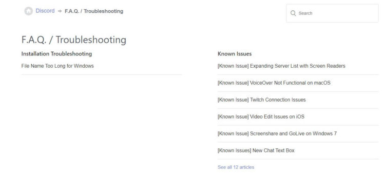 Discord Search Not Working faqs-known-issues