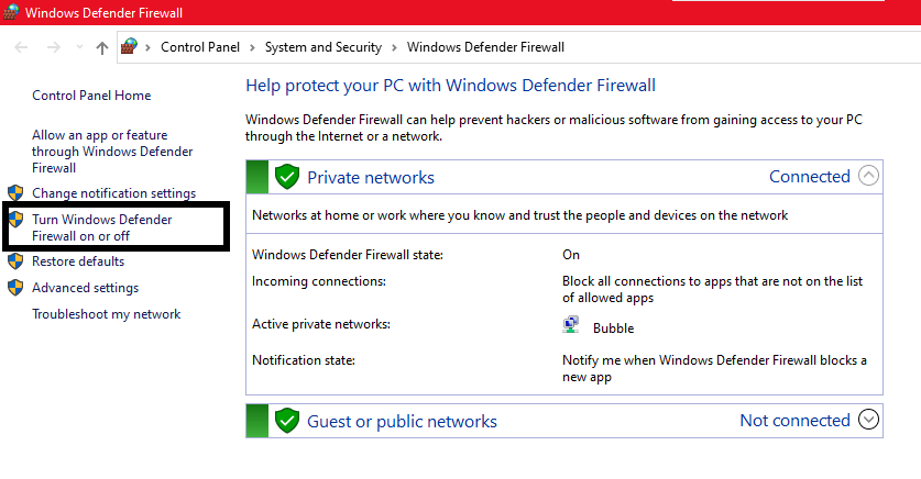 windows firewall settings for roblox error code 260