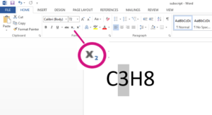 how to subscript in word