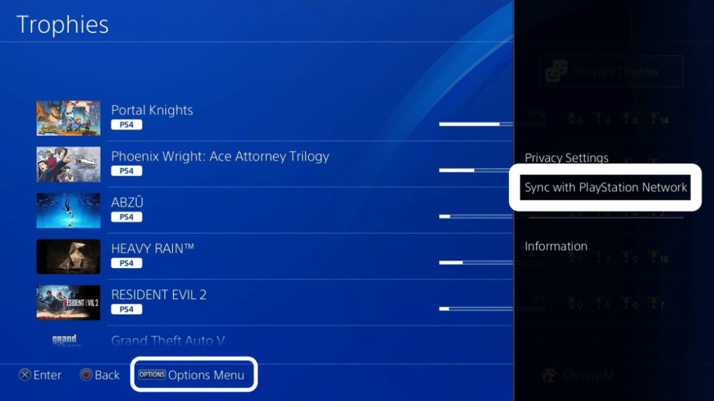 Sync Trophies with PSN option