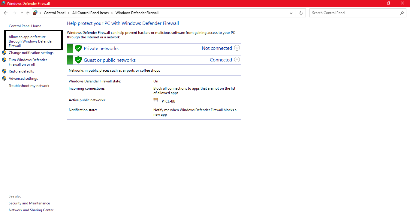 Change the computer Windows Firewall settings for spotify waiting to download