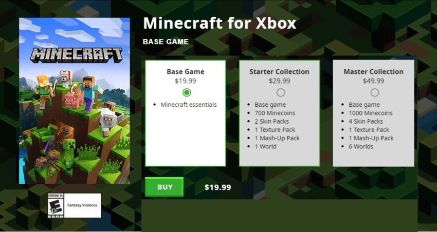 How much does Minecraft cost on Xbox
