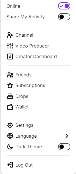 setting side menu How to Change Twitch Username, change twitch name , change name on twitch