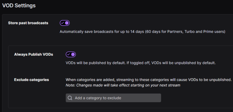 Vod settings How to Save Streams on Twitch, Twitch save streams, twitch didn't save the broadcast